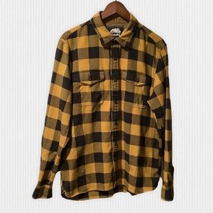 Roots Black Yellow Buffalo Plaid Flannel Shirt L